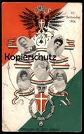ALTE POSTKARTE 15 SETTEMBRE 1904 OMAGGIO AL LIETO EVENTO CORONA D'ITALIA EMAN III ELENA Cpa Postcard AK Ansichtskarte - Familias Reales