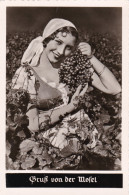 RP: Gruss Aus Mosel , Germany , 30-50s ; Woman W/ Grapes - Vines
