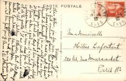 FRANCE - Type Paix Avec Bande Pub Sur Carte Postale De Vierzon Pour Paris En 1933 - A Voir - L 3062 - Advertising