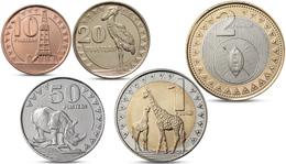 SOUTH SUDAN 5 COINS SET ANIMALS RHINO BIRD GIRAFFE BIMETALLIC 2015 UNC - Monete