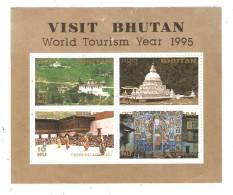 Visit Bhutan, 1995, World Tourism Year, Souvenir Set ( 4 Stamps ) - Bhutan
