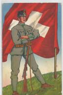 Suisse - Armée Nouvelle Ordonnance Infanterie Soldat Dolman De Campagne Felduniform Uniforme Drapeau , 7825 - Uniformes