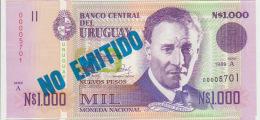 Uruguay 1000  Pesos 1989 Pick 67A UNC Blu - Uruguay
