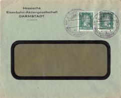 DEUTSCHES REICH, PERFIN, LOCHUNGEN, MI 385 MEF, BRIEF, COVER, EISENBAHN, DARMSTADT - Allemagne
