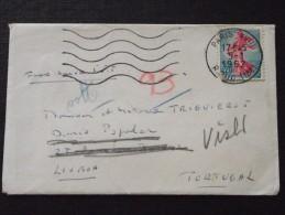75 PARIS - Courrier Vers LISBOA (Lisbonne, Portugal) - Carte De Visite De F. Lefèvre - 5 Janvier 1962  - Timbre Semeuse - Portugal