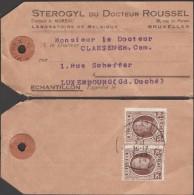 Belgique 1929 COB 196 X 2. Houyoux 40 C, échantillon De Bruxelles Pour Luxembourg. Peu Commun - 1922-1927 Houyoux