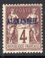 Alexandrie N° 4  XX Type Groupe : 4  C. Lilas-brun  Sans  Charnière  TB