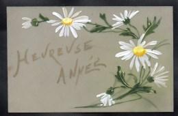 CPA FANTAISIE CELLULOID - CELLULOIDE - DOREE OR - Art Nouveau- Peinte à La Main - Fleurs Marguerites - Bonne Année -#292 - Nouvel An
