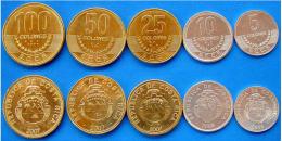 COSTA RICA SERIE 5 MONETE 100-50-10-25-5 COLONES FDC UNC - Costa Rica