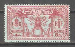 French New Hebrides 1925,5fr (4sh),Sc 54,Mint Hinged*OG (P-5) - French Legend
