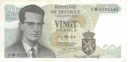 BELGIUM 20 FRANCS 1964 P-138 XF SER: 3W0795191 [ BE138 ] - [ 6] Treasury