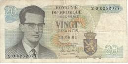 BELGIUM 20 FRANCS 1964 P-138 VF SER: 3O0252077 [ BE138 ] - [ 6] Staatskas
