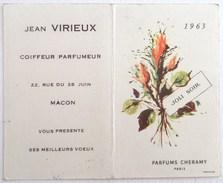 CALENDRIER 1963 PETIT FORMAT . PARFUMS CHERAMY PARIS . JOLI SOIR  . JEAN VIRIEUX COIFFEUR PARFUMEUR MACON - Calendriers