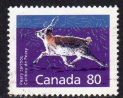 Canada 1988-93 80c Peary Caribou, Perf. 13 Definitive, Used (SG1276ca) - 1952-.... Reign Of Elizabeth II