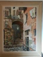 Tableau Sur Bois Huile Peintre Sarthois /Baudin D Malicorne/ Vue De Sartene Corse/53*73 - Huiles