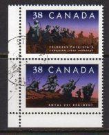 Canada 1989 Canadian Regiments Pair, Used (SG1335-6) - 1952-.... Reign Of Elizabeth II