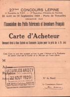 27 ème Concours Lépine - Carte D'acheteur -Meubles Arbey - Reclame