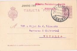 19416. Entero Postal Alfonso XIII Vaquer, EL FERROL (Coruña) 1927 Edifil Num 57n º