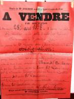 CONTRES SARTHE ECOLE DES GARCONS AFFICHE DE VENTE MAISON DE BOURG ANNEE 1897 ECRITE PAR M JOACHIM SAINT COSME DE VAIR - Affiches
