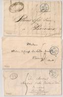 3 Lettres PARIS. DATEURS BLEUS. A VOIR POUR ETUDE. - Storia Postale