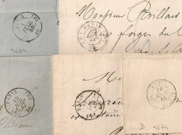 5 LETTRES DE PARIS. A VOIR POUR ETUDE. 5 BUREAUX DIFFERENTS. - Storia Postale