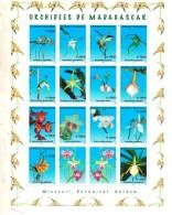2005 Madagascar Orchids Flowers Complete Set  Of  14 MNH - Madagascar (1960-...)
