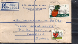 OUGANDA    Lettre  Recommandée  Fruits Ananas Legumes  Tomates - Obst & Früchte