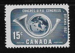 CANADA #372, UPU Congress: Posthorn & Globe,1957,  Cornet Musical, Globe  MNH  Fine