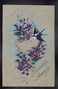CPA FANTAISIE CELLULOID DOREE OR Art Nouveau Art Déco Peinte à La Main Oiseau Hirondelle Couronne Fleurs Violettes -#298 - Nouvel An