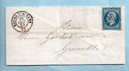 Isère - N° 14 - P.C. 469+ Cachet Type 15 De Bourg D'Oisans Du 26/10/1859. (36723) - Postmark Collection (Covers)