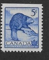 CANADA 1953, #336as From Pane,  MNH, WILDLIFE:  BEAVER        MNH - Unused Stamps