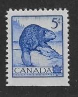CANADA 1953, #336as From Pane,  MNH, WILDLIFE:  BEAVER        MNH