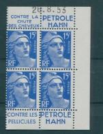 !!! 15 F MARIANNE DE GANDON BLOC DE 4 AVEC PUBS HAHN ET COIN DATE NEUF ** - Publicités