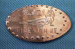 05002 ELONGATED COIN TOKEN EROTIC CLUB  21 RIDE WITH ME - Pièces écrasées (Elongated Coins)