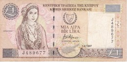 BILLETE DE CHIPRE DE 1 LIRAS DEL AÑO 1997 (BANKNOTE) - Chipre