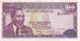 BILLETE DE KENIA DE 100 SHILINGI DEL AÑO 1977 (BANK NOTE) - Kenia