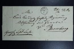 Poland: Letter 1832 Gnesen Gniezno CDS 14/6 To Bromberg Backstamped Seal Kon. Fr. Land Amt. Gnesen (Royal Post Office) - Poland