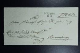 Poland: Letter 1840 Schubin Szubin Line Postmark To Bromberg Bydgoszcz Boxed  V.Wittich Back Kon Fr.Land Stadt Schubin + - Polen