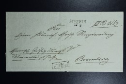 Poland: Letter 1840 Schubin Szubin Line Postmark To Bromberg Bydgoszcz Boxed  V.Wittich Back Kon Fr.Land Stadt Schubin + - Poland