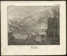 MONT BLANC - ORIGINAL ENGRAVING ETCHING 1833 - Karlsruher Unterhaltungs-Blatt - Books, Magazines, Comics