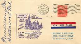 1949   US Air Mail First Flight AM 97, Segment 2 Baltimore MD  Signed By Postmaster - Air Mail