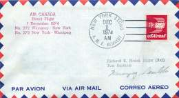 1974  First Flight Air Canada New York NY To Winnipeg MN Canada - Air Mail