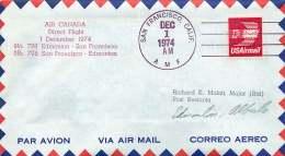 1974  First Flight Air Canada  San Francisco CA To Edmonton AB Canada - Air Mail
