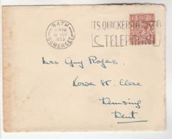 1933 Bath GB COVER SLOGAN Pmk ITS QUICKER TO TELEPHONE Telecom Stamps  Gv - 1902-1951 (Kings)