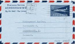 Australia Aerogramme Overseas Service Sent To Denmmark Sydney 25-9-1963 - Luftpostleichtbriefe