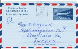 Australia Aerogramme Overseas Service Sent To Sweden Perth 21-4-1962 - Aerogrammes