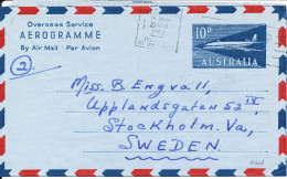 Australia Aerogramme Overseas Service Sent To Sweden Perth 21-4-1962 - Luftpostleichtbriefe