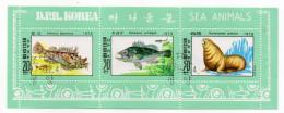 """Corée Du Nord---oblitéré Date 1979---Feuillet """"Sea Animals""""  (poissons-lion De Mer)............à Saisir - Corée Du Nord"""