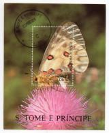 """SAO TOME ET PRINCIPE--1990---Feuillet """"Papillons""""  Gros Plan De Papillon Sur Fleur...........à Saisir - Sao Tome Et Principe"""