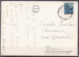 1950 - Cartolina Illustrata Per Il Principato Di Monaco - 6. 1946-.. Repubblica